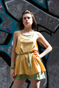 Silk contrast layered dress with tie belt small